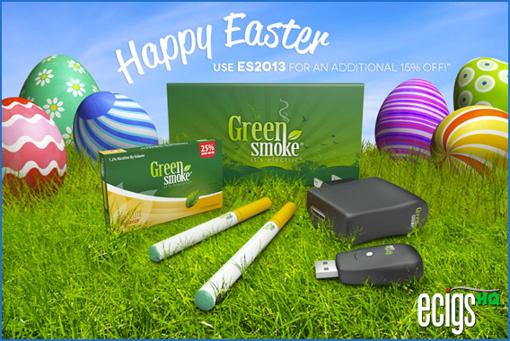 Green Smoke Easter Sale Coupon Code banner.