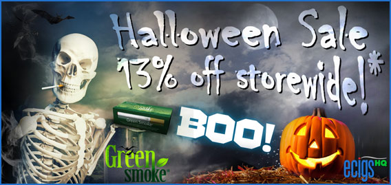 Green Smoke Halloween Sale banner.