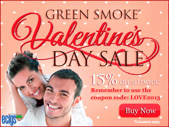 Green Smoke Valentine's Sale Coupon Code banner.