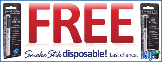 Free Shipping on Smoke Stik and Free Disposable E-cigarette photo 1.